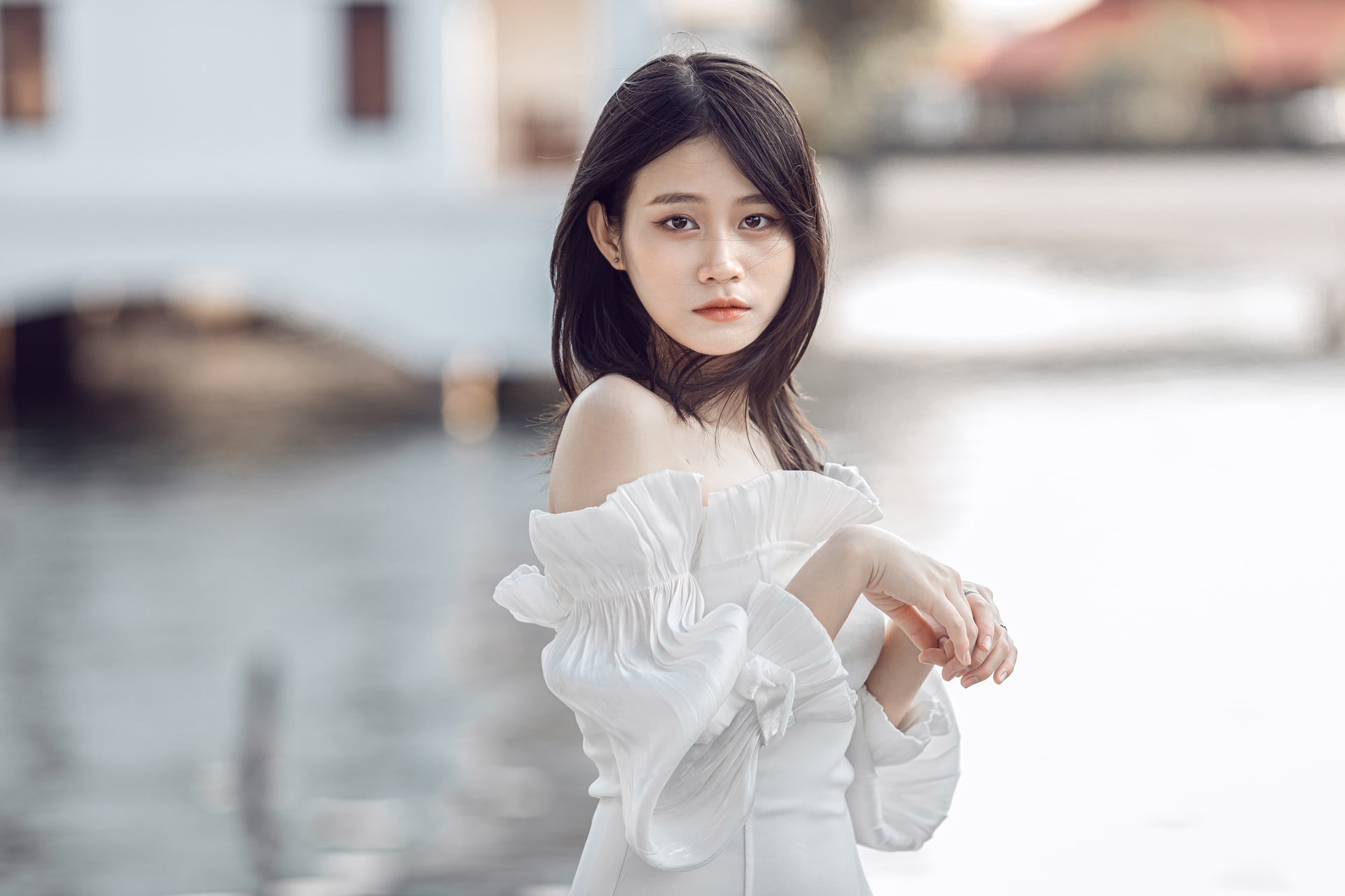 Asian girl in white dress